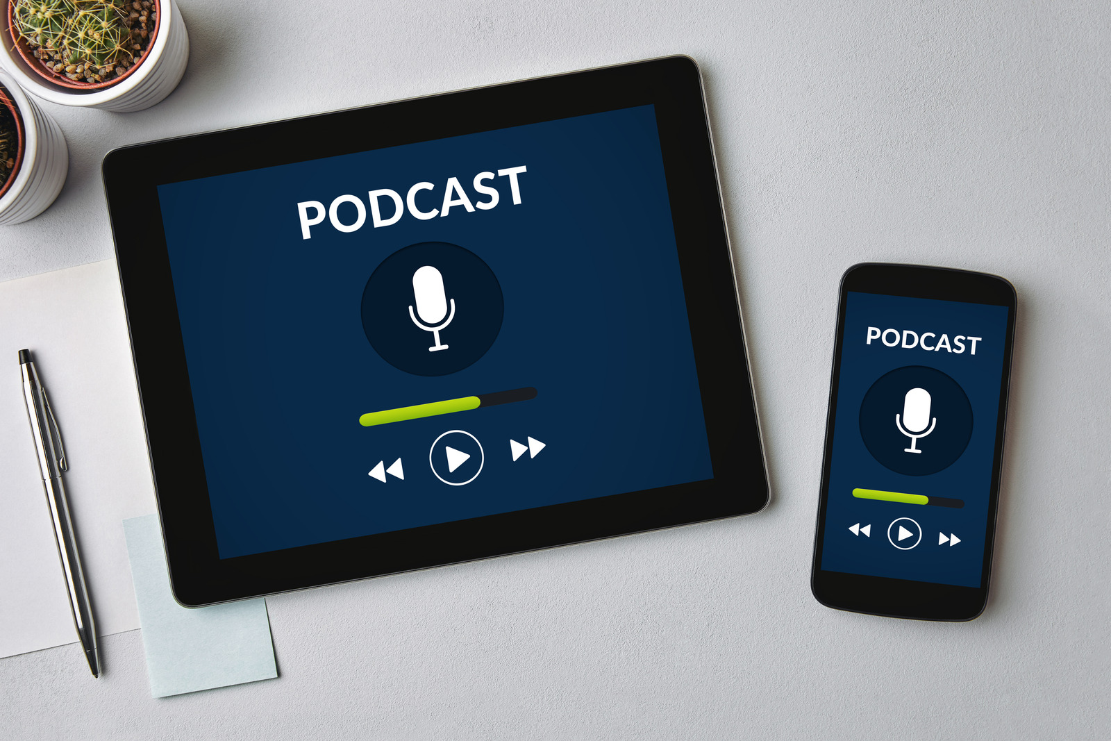 Podcast concept on tablet and smartphone screen